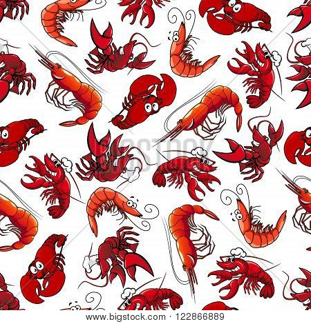 Delicious seafood characters seamless background with pattern of atlantic red shrimps, prawns and lobsters