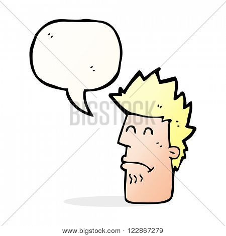 cartoon man feeling sick with speech bubble