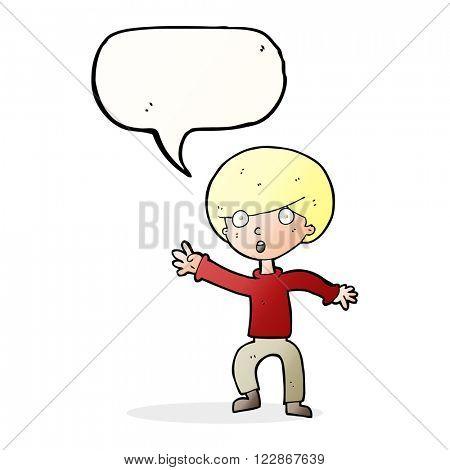 cartoon panicking boy with speech bubble