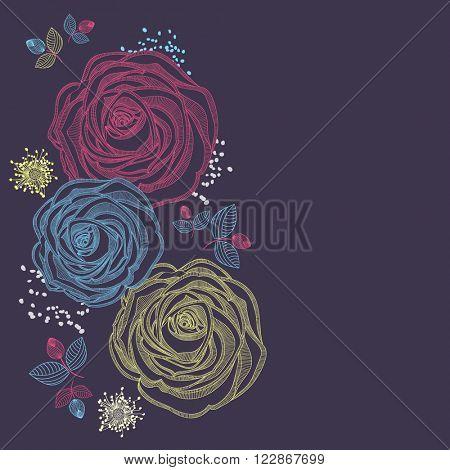 Floral background with flower rose. Element for design.