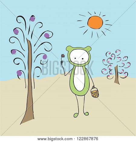 Cartoon a strange creature with a basket and a flower. Abstract funny cute creature in a clearing. Abstract tree, Bush, sun.