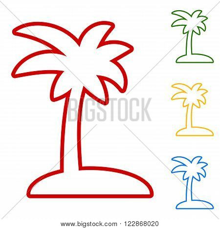 Coconut palm tree sign. Set of line icons. Red, green, yellow and blue on white background.