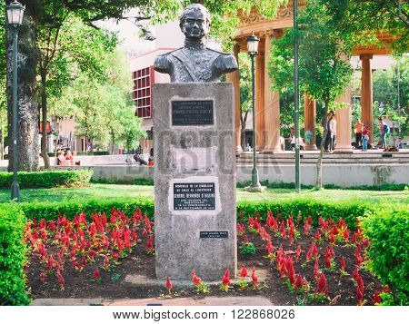 SAN JOSE, COSTA RICA - March 21: Bust of Bernardo O'Higgins, monument to the Chilean independence leader in Morazan Park, San Jose downtown. March 21, 2016 in San Jose.