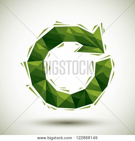 Green reload geometric icon made in modern style best for use as symbol or design element for web or print layouts