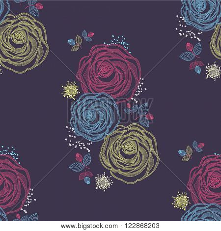 Seamless floral pattern with flower rose. Element for design. Hand-drawing vector illustration.