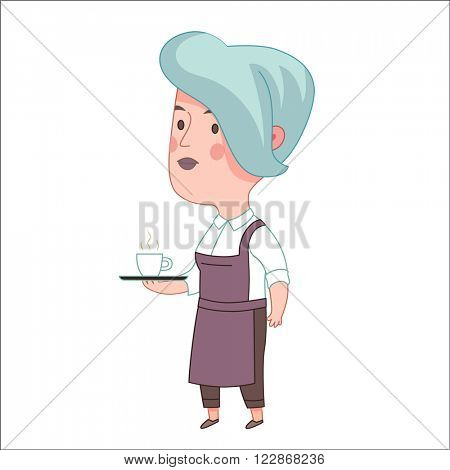 Waitress, vector illustration, a blue haired woman wearing an apron holding a tray with a cup of coffee or tea on it, a part of Dodo people collection
