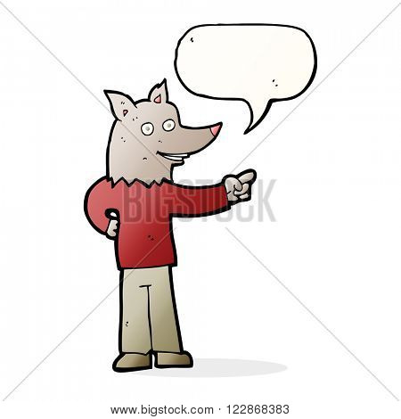 cartoon wolf man pointing with speech bubble
