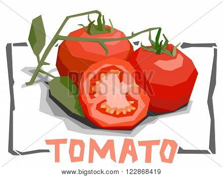 Vector simple illustration of tomatoes with half in angular cartoon style.