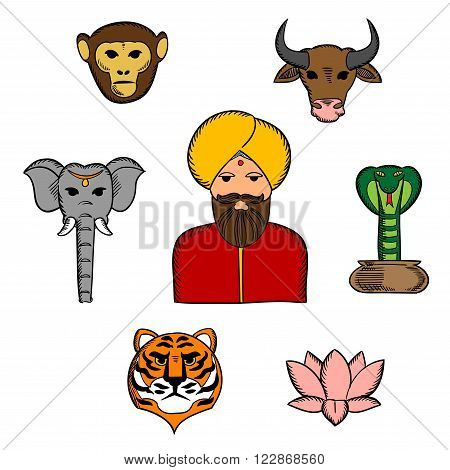 National symbols of India with elephant and cow, cobra and tiger, lotus flower and monkey with indian man in national costume and turban. Travel, religion and culture traditions of India theme