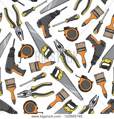 Tools and electrical equipment background with seamless pattern of screwdrivers and saws, pliers and electric cordless drills, paint brushes and tape measures. DIY, construction and carpentry theme