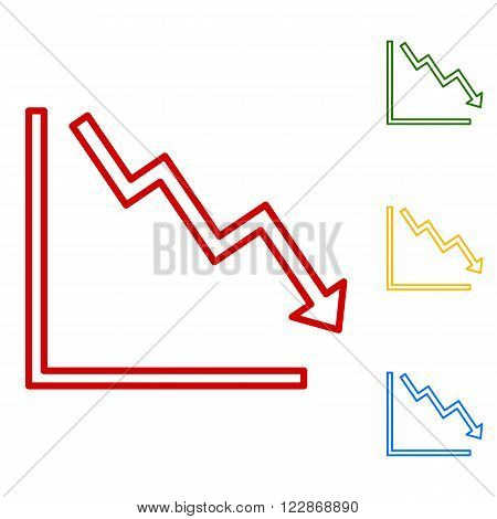 Arrow pointing downwards showing crisis. Set of line icons. Red, green, yellow and blue on white background.