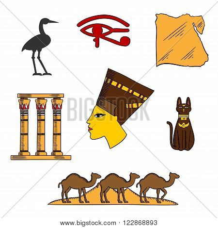 Ancient egyptian queen Nefertiti with map of Egypt, black cat goddess, dessert landscape with pyramids and camels, temple columns, eye of horus and sacred heron symbols
