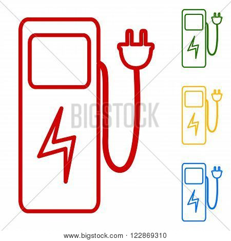 Electric car charging station sign. Set of line icons. Red, green, yellow and blue on white background.
