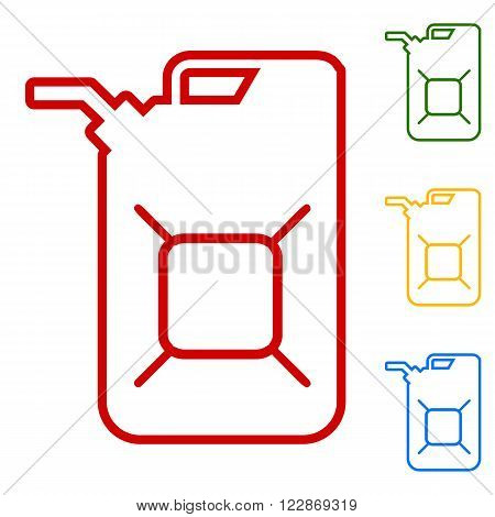 Jerrycan oil sign. Set of line icons. Red, green, yellow and blue on white background.