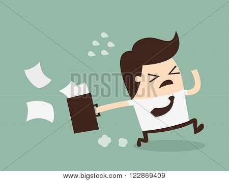 Businessman Running Late Businessman Running To Work With Briefcase