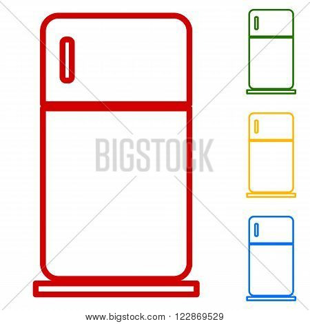 Refrigerator sign. Set of line icons. Red, green, yellow and blue on white background.