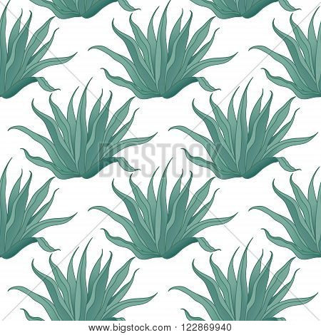 Seamless vector agave cactus pattern. Vector illustration