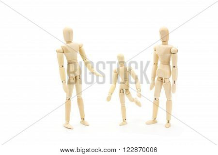 Wooden Manikin Figures Jointed Doll Model.Isolated on white