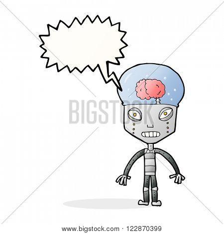 cartoon weird robot with speech bubble