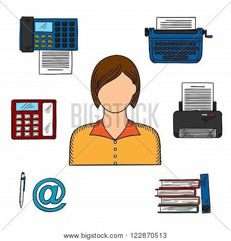 Office worker or secretary profession icons with woman, printer and telephone, fax and typewriter, file folders, pen and email sign