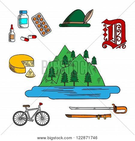 Spectacular landscape of bavarian lake adorned by feather, farm cheese, medications, ornamental german gothic font, bicycle and ancient saber. Colorful sketches for Germany theme design