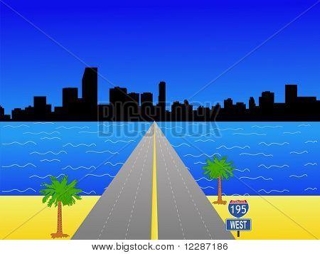 Miami Skyline and interstate 195 illustration JPG