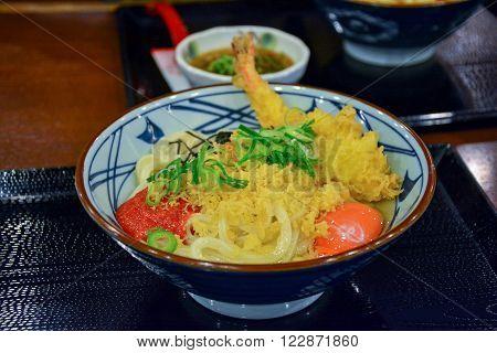 Delicious shrimp tempura ramen in a small bolw