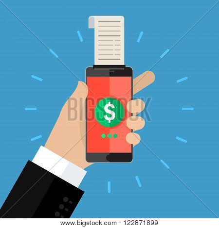 Concept of shopping or mobile banking. Mobile banking with smart phone and paycheck. Flat design, vector illustration.