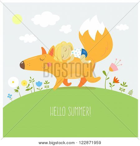 Summer card with cute cartoon  fox and the little girl. Walk two friends. Vector image. Children's illustration.