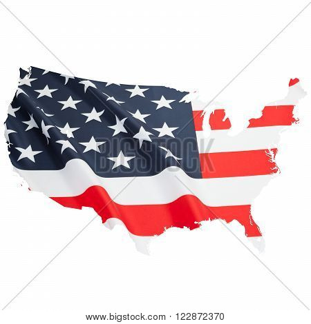 Series Of Border Alike Shaped Ruffled Flags - United States Of America
