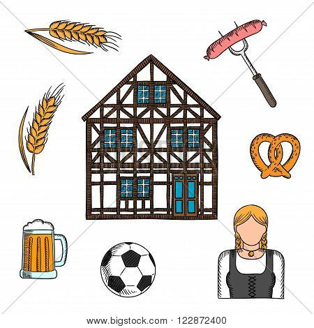 Bavarian culture icons with beer and pretzel, grilled sausages, football or soccer ball, girl in national dress dirndl, traditional german house and cereal ears. For travel or Oktoberfest design