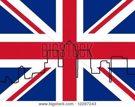 London Docklands Skyline outline and British Flag