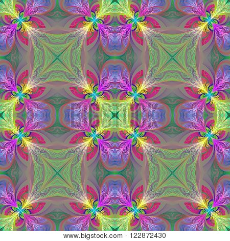 Multicolored seamless flower pattern in stained-glass window style. You can use it for invitations notebook covers phone case postcards cards wallpapers and so on. Artwork for creative design art and entertainment