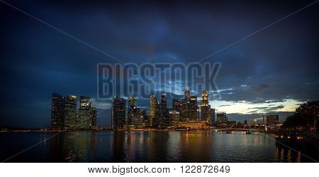 SINGAPORE, FEBRUARY 23 2016 : Singapore skyline and view of the financial district, Singapore on February 23 2016