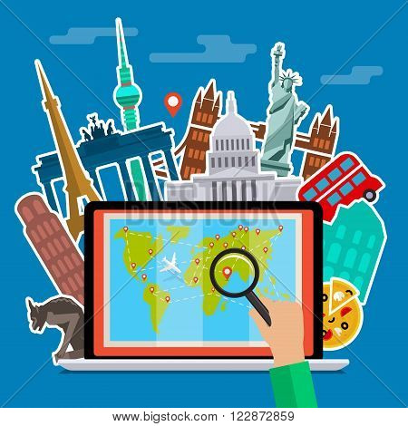 Concept of planning vacation or studying languages. Colorful travel vector flat banner for your business, websites etc. Flat design, vector illustration.