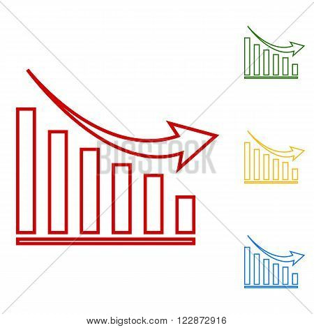 Vector declining graph. Set of line icons. Red, green, yellow and blue on white background.