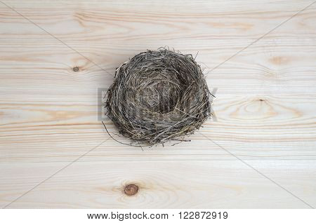 Bird's nest close up on a wooden background.