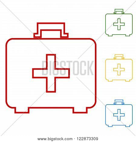 vector illustration of first aid box icon on white background. Set of line icons. Red, green, yellow and blue on white background.