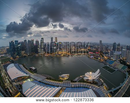 SINGAPORE, FEBRUARY 22 2016 : Fisheye view Singapore skyline and view of the financial district, Singapore on February 22 2016