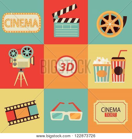 Set of movie design elements and cinema icons in flat style. Vector.