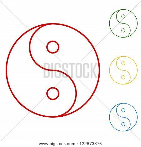 Ying yang symbol of harmony and balance. Set of line icons. Red, green, yellow and blue on white background.