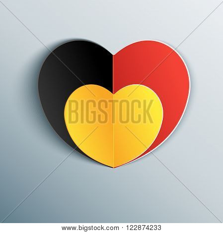 Belgian flag heart in commemoration of the victims of the Brussels terrorist attack