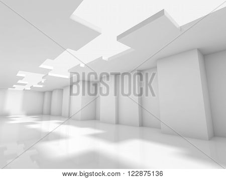 Abstract white modern office interior design with corners and ceiling illumination. Architecture background, 3d illustration