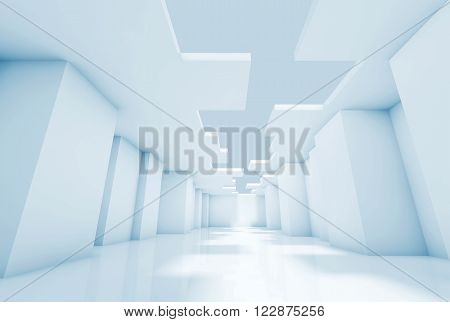 Empty Room Interior Background, Blue Toned 3D