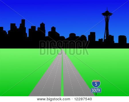 Seattle skyline and deserted interstate 5 illustration JPG