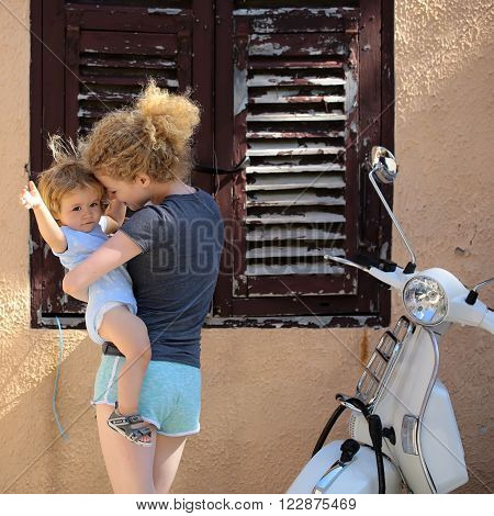 Woman With Baby Outdoor