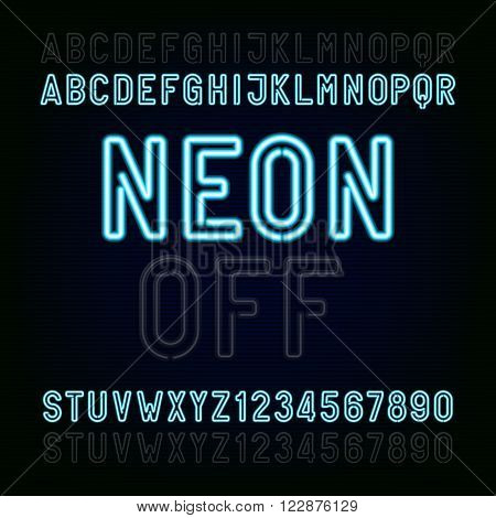 Blue Neon Light Alphabet Font. Two different styles. Lights on or off. Type letters and numbers on a dark background. Vector typeface for animation, labels, titles, posters etc.