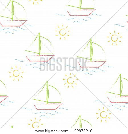 Seamless pattern color crayons children's drawings on white background. Hand-drawn style. Seamless vector wallpaper with the image of boat, sea and sun