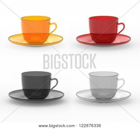Set of colorful semitransparent mugs with plates for coffee tea or other food and drinks. Three dimensional