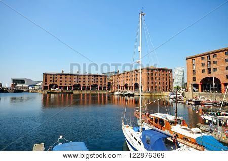 LIVERPOOL, UK - JUNE 11, 2015 - Yachts moored in Albert Dock Liverpool Merseyside England UK Western Europe, June 11, 2015.